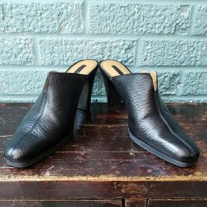 Unisa Sultana Black Pebbled Leather Mules